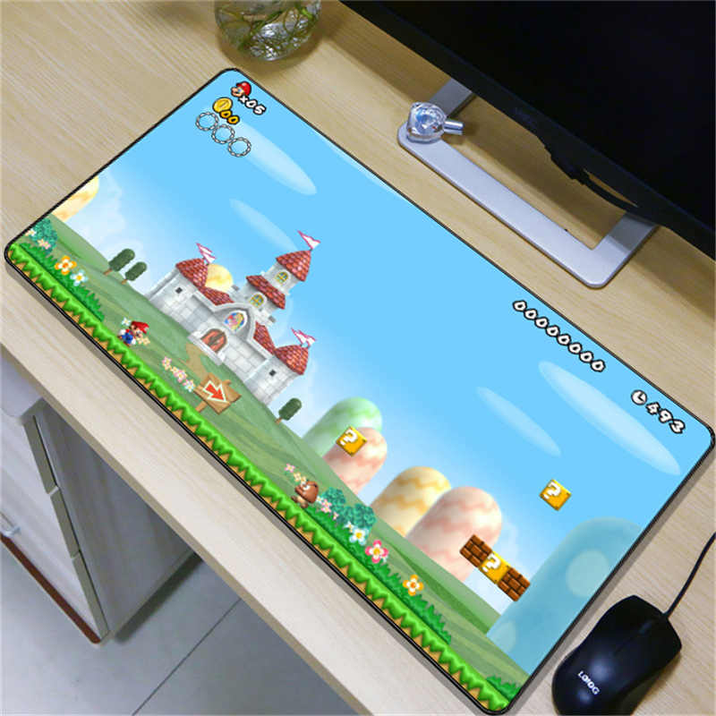 FFFAS 80x40cm Gaming Mouse Pad Big Mario Mushroom Game Large Size Table Soft Mousepad Desk Mat for Laptop Notebook Tablet PC