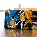 Personality mini box bag Rainforest monkey pattern women clatch bag original hand-painted vintage wood bag chain shoulder bag