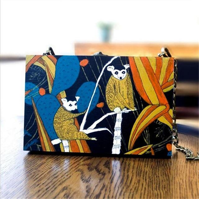 Личность Мини окно мешок Rainforest обезьяна, CLATCH мешок Оригинальная ручная роспись старинные деревянные цепь сумка