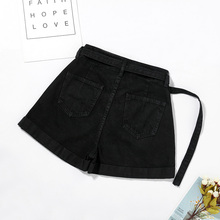 Black Jeans Shorts Nv Xia Style 2019 Chaozhou version is super high waist slim
