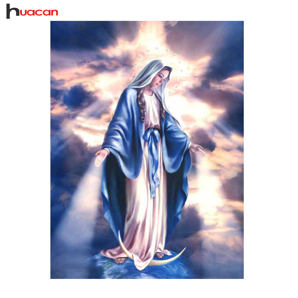 HUACAN DIY Diamond Painting Mosaic Virgin Mary Wall Decor Full Square Rhinestone Pasted Diamond Embroidery Religion Pattern Gift