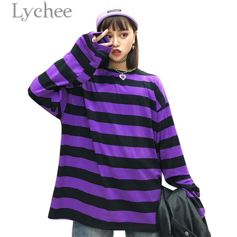 Lychee Trendy Hit Color Stripes Women T-Shirt Long Sleeve Short Sleeve O-Neck Color Block Female T Shirt Casual Loose Tee Top