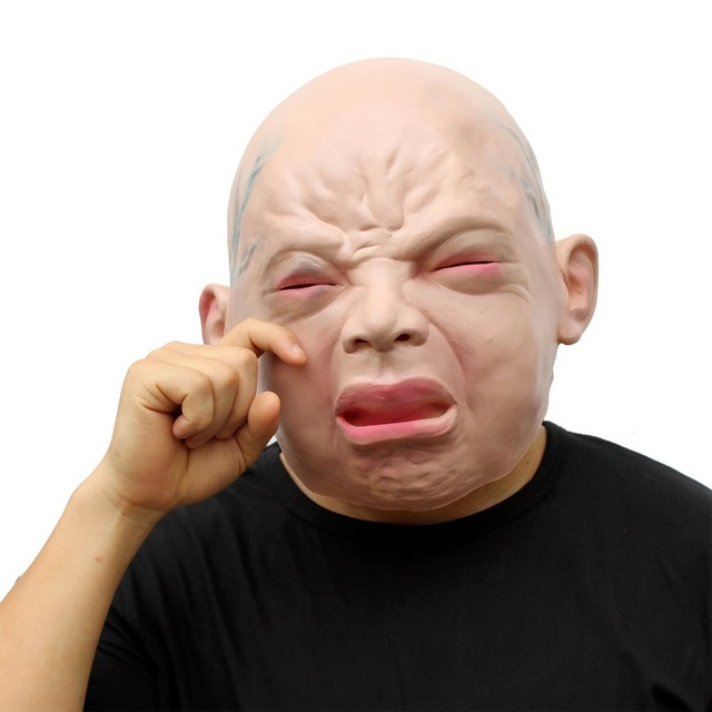 latex scary mask angry crying child costume halloween creepy cry