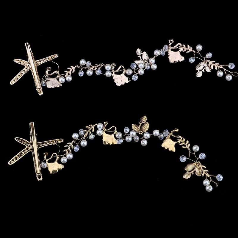 New Fashion Lady Starfish Tiara Headband Head Chain Pearl   Headwear   Hair Accessories Women Bridal Headpiece LB