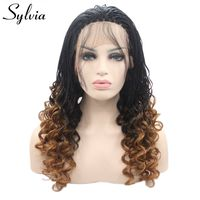 Sylvia heat resistant fiber braided wig natural black ombre blonde Box Braided with baby hair synthetic lace front wig for women