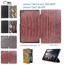 MTT Tab3 8 TB3-850F TB3-850M Crocodile Skin Leather Case Flip Cover For Lenovo Tab 3 8.0 Tab2 A8 A8-50F Smart Tablet Cover shell