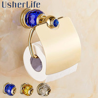 Luxury Gold Paper Holder Brass Tissue Holder Toilet Crystal Roll Rack Water Resistant Usherlife Bathroom Accessories