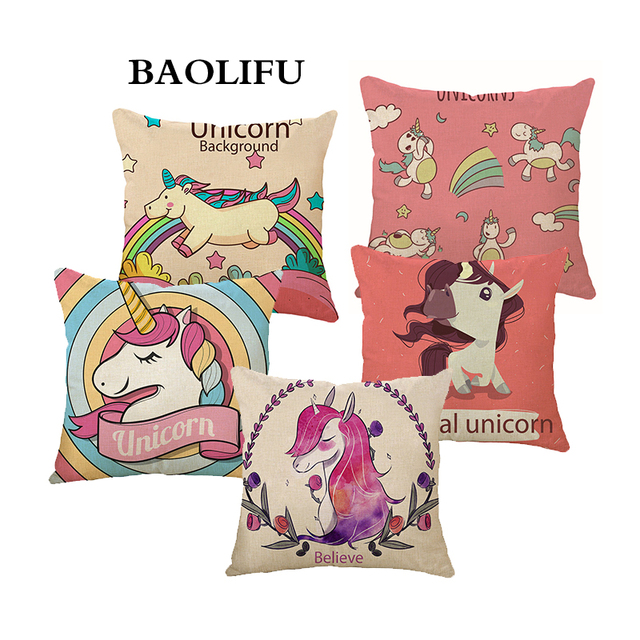 BAOLIFU Cartoon Unicorn Animale Cuscino Stampa Lino Decorative Pillow Case Sede
