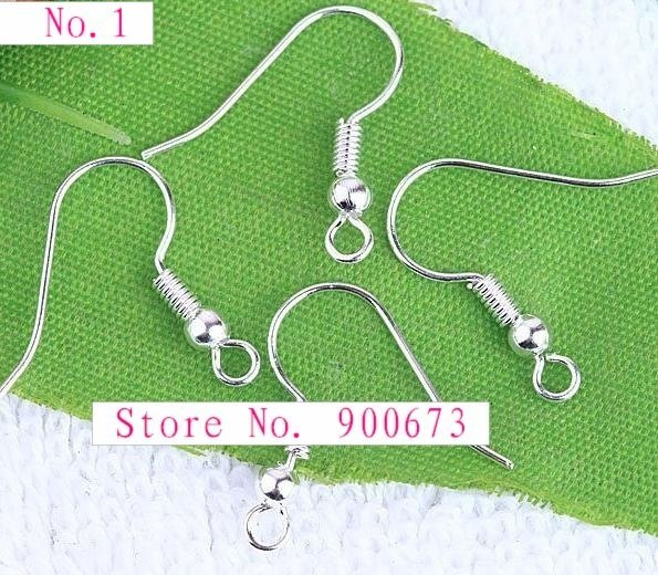 Free shipping Silver Plated Ear Wire Hooks With Coil/Bead, Copper Earring Findings, Nickel Free, Sold Per 1000 PCS