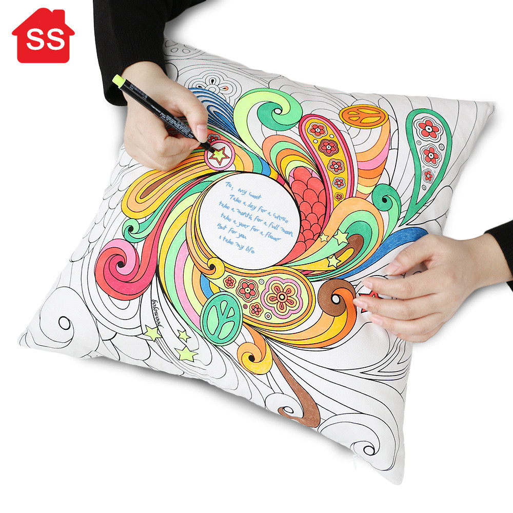 2016 New Faux Silk Fabric DIY Graffiti Pillow Painting Home Decor throw pillow secret garden ...