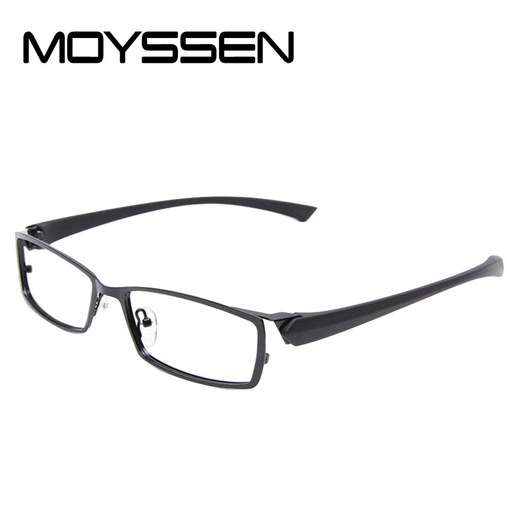 336cb90e90a3 MOYSSEN Men s Business Leisure Titanium Alloy Optical Glasses Frame  Flexible TR90 Arms Myopia Prescription Eyeglasses