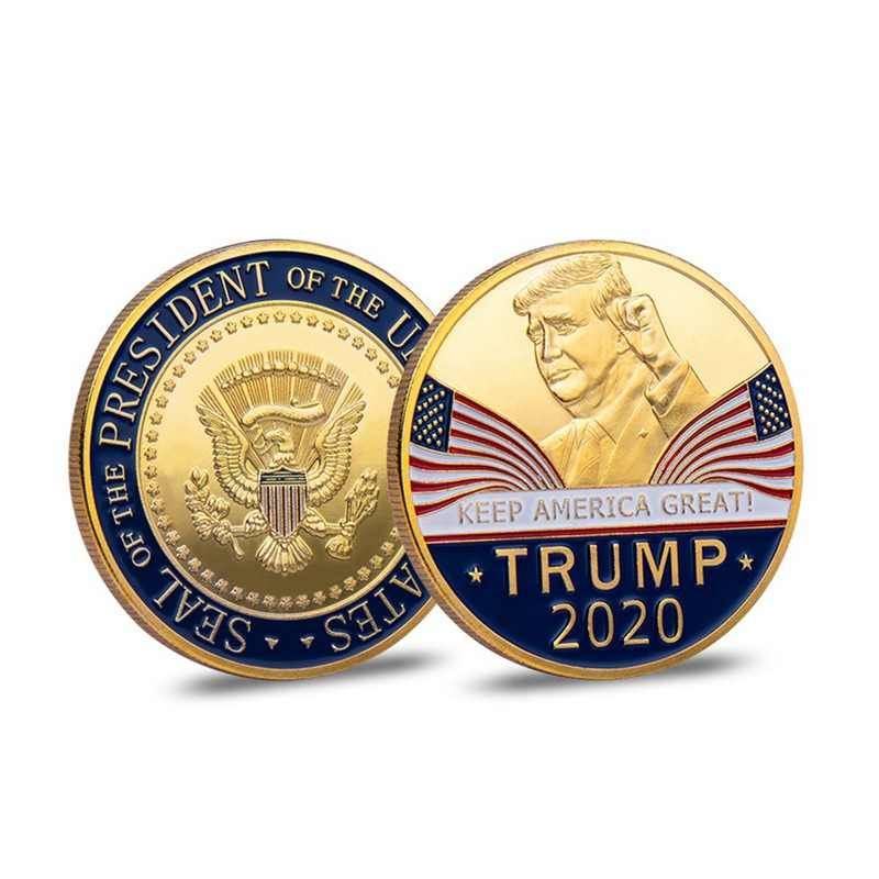 Donald J. Trump 2020 Keep America Great Leader In Chief Gold Challenge Coin Commemorative America 45th President Novelty Coin