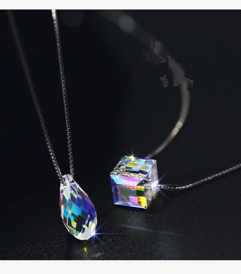 Luxurious European Model New Unique Crystals from Swarovski Water Drop Dice Dice Sugar Crystal Pendant Tremendous Jewellery For Ladies Necklaces, Low-cost Necklaces, Luxurious European Model New Unique Crystals from...