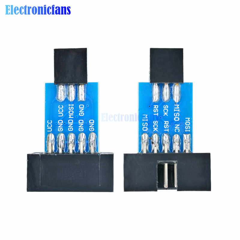 2 шт./компл. 10-контактная Адаптерная плата + USB-программатор USBASP USBISP AVR, USB ATMEGA8 ATMEGA128 ATtiny/CAN/PWM 10-контактный модуль для самостоятельной сборки