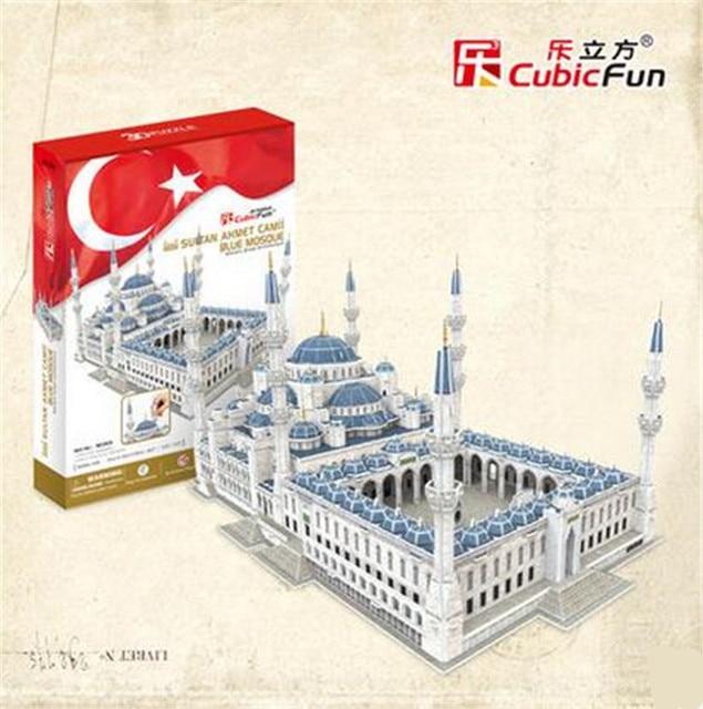 Cubicfun 3D Puzzle Toys 321PCS Turkey Sultan Ahmed Blue Mosque Model MC203h Children's Gift