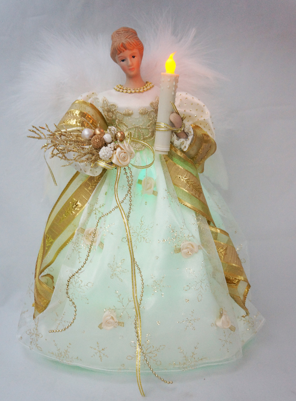 cosette christmas light angel tree topper porcelain doll timed ornament 12 inches 30 cm height - 12 Inch Christmas Tree