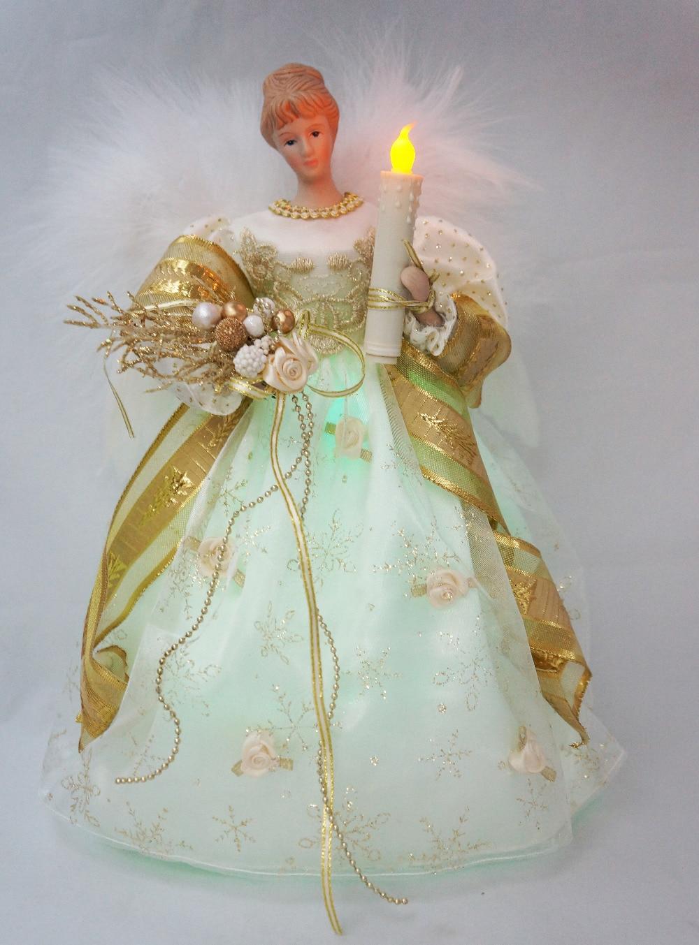 32 42 Cosette Noel Lumiere Ange Decoration Sommet De Sapin Porcelaine Poupee Chronometree Ornement 12 Pouces 30 Cm De Hauteur In Etoile Pour Sapin