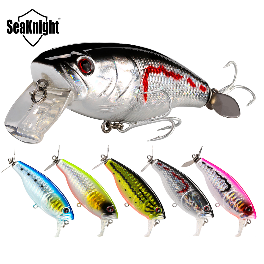 SeaKnight SK047 Minnow 14.5g 72mm 0-0.5M Floating Fishing Lure 5PCS/Lot Artificial Baits VMC Hooks Propeller Tail Fishing Baits