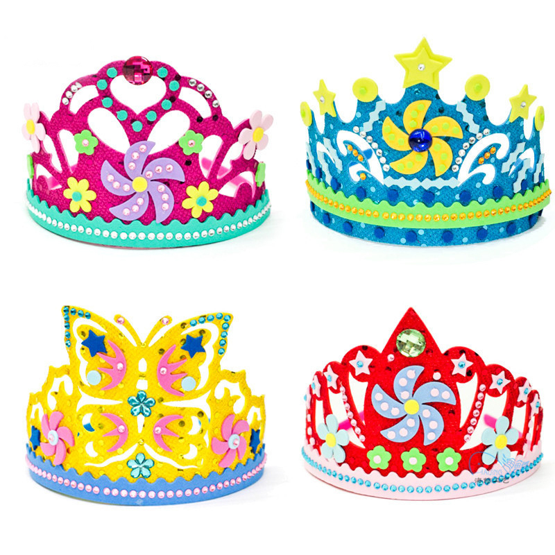 New EVA Foam Paper Sequins Crown Creative Flowers Stars Patterns Kindergarten Art Children DIY Craft Toys Party Decorations Gift