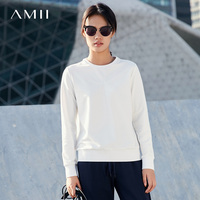 Amii Minimalist Casual Women Sweatshirt 2019 Solid O Neck Female Pullovers Sweatshirts