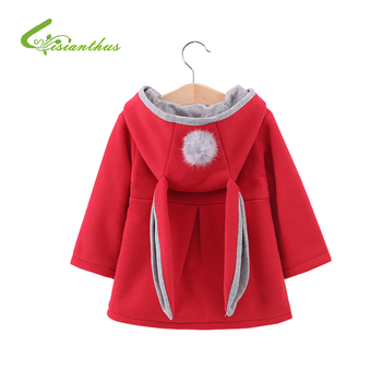 สาวเสื้อฤดูใบไม้ร่วงฤดูหนาวเสื้อผ้าเด็กทารกแขนยาวเสื้อน่ารักกระต่ายหู Hoodie เด็ก Outerwear