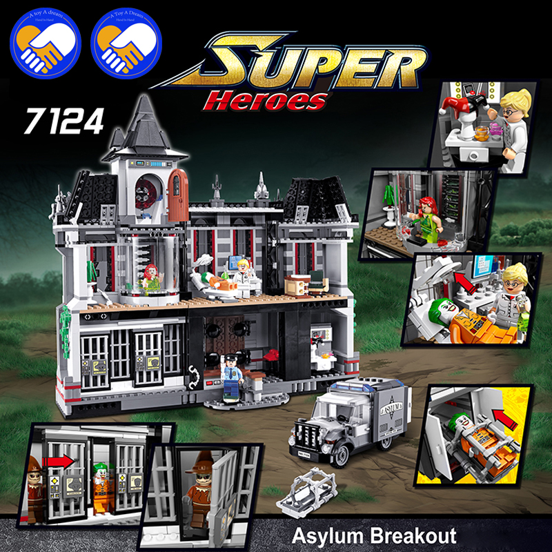 (A Toy A Dream)New DECOOL 7124 Genuine Series Marvel Batman Movie Arkham Asylum Building Blocks Bricks Toys with