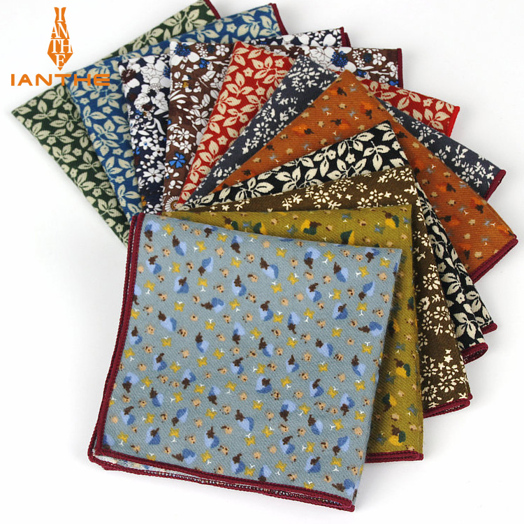 2018 Brand New Men's Fashion Cotton Pocket Squares For Men Flower Square Handkerchief Men Wedding Classic Suits Pocket Hankies