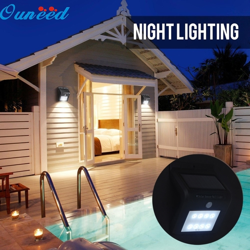 Ouneed Happy Home 1PC Solar Body Sensor Lights  8 LED Solar sensor lights Motion Wall Light Outdoor Garden Waterproof Lamp 1PC l806 solar 8 led light black