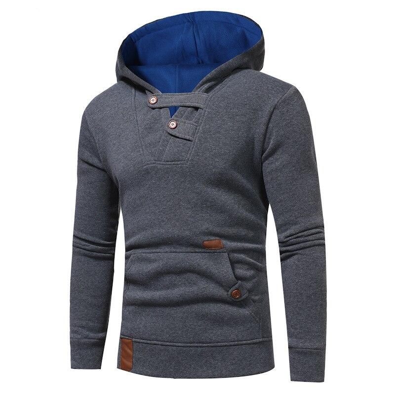 Men's Fashion Pullover Hoodies Long Sleeve hooded sweatshirt men Casual Solid Color Hoody
