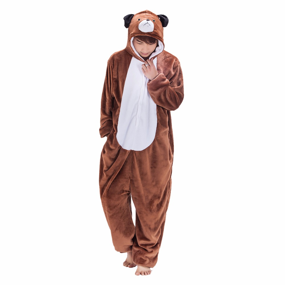 High Quality Animal Dog Onesie Adult Women Men Pajama Brown Cartoon Funny Jumpsuit Flannel Thicker Big