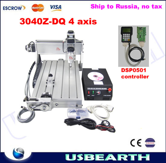 Ship to Russia, no tax. CNC engraver 3040Z-DQ 4 axis, CNC 3040 3D desgin machine, milling machine + DSP0501 controller 4 axis cnc router 3040z s 800w cnc spindle cnc milling machine with dsp0501 controller free ship to russia no tax