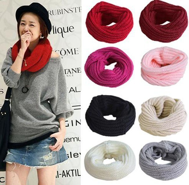 Womens Winter Soft Warm Knit Neck Circle Wool Blend Cowl Snood Long Scarf Shawl Wrap Ring 2072