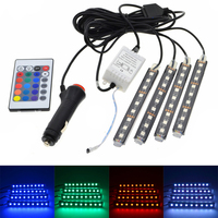 4pcs Car RGB LED Strip Light LED Strip Lights 16 Colors Car Styling Decorative Atmosphere Lamps