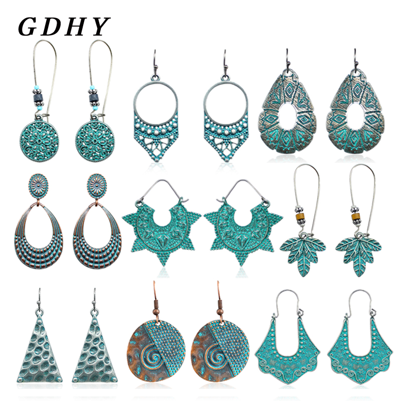 GDHY Fashion Retro Metal Drop Earring  Hollow Big Pendants For Women Drop Earrings Jewelry