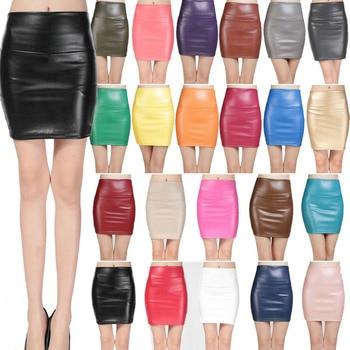 2018 spring autumn Fashion Women Skirts PU faux leather skirts tight stretch female short pencil mini skirt saias femininas 6