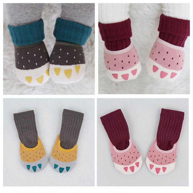 1 Paar Baby Anti-slip Boot Socken + 1 Paar Röhre Aktien Winter Verdicken Warme Säuglings Socken Cartoon Krallen Baby Jungen Mädchen Baumwolle Socke Hochwertige Materialien