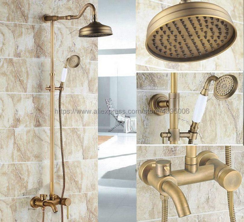 цена на Antique Brass Wall Mounted Rain Shower Faucet Tub Spout Mixer Tap W/ Hand Shower Sprayer Tap Brs224