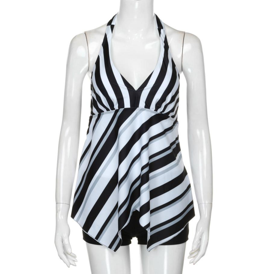 Women Tankini Set Womens oblique striped triangle strap plus fertilizer large size split swimsuit plus size swimwear 3XL plavky