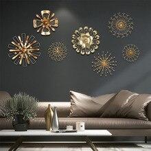 Modern Blossom Abstract Artificial Metal Wall Art Home Decor Iron Gold Sticker wallpaper sticker  kids room deco