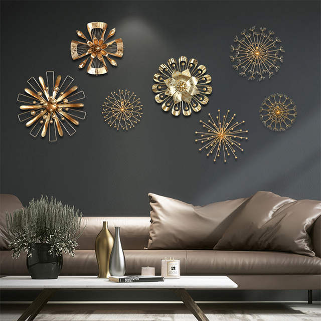 Us 23 12 Modern Blossom Abstract Artificial Metal Wall Art Home Decor Iron Gold Sticker Wallpaper Kids Room Deco In