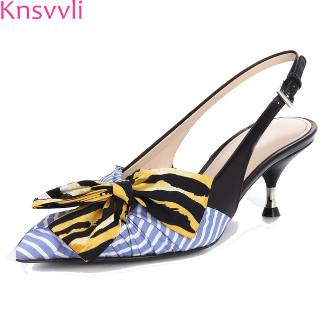 e17674c843f5 Knsvvli Pointed Slingback Kitten heels Shoes Woman Blue Stripes silk bow  knot Gladiator Sandals Women Summer Shoes Zapatos Mujer