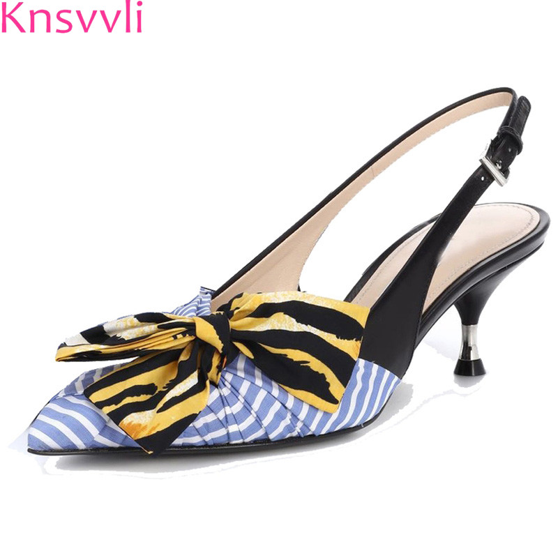 red D'été Chaussures Soie Slingback Femme Sandales Bleu Knsvvli Gladiateur Rayures Arc Mujer Zapatos Noeud Talons Femmes Chaton Pointu Blue qA688wIU