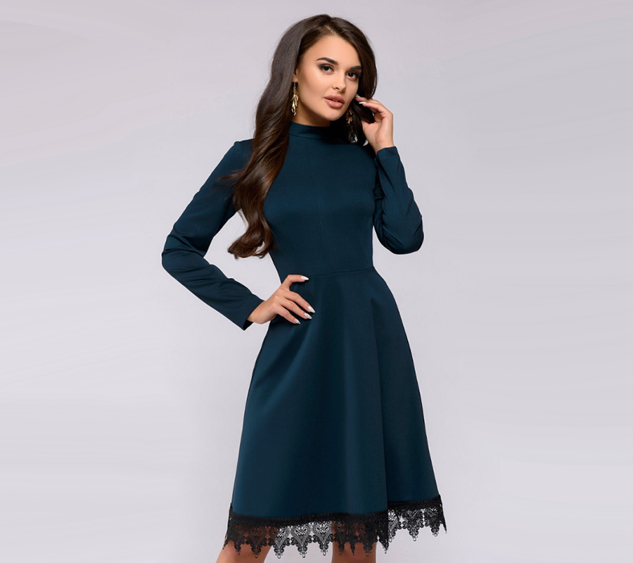 Women Vintage Lace Edge Dress Fashion Long Sleeve O Neck