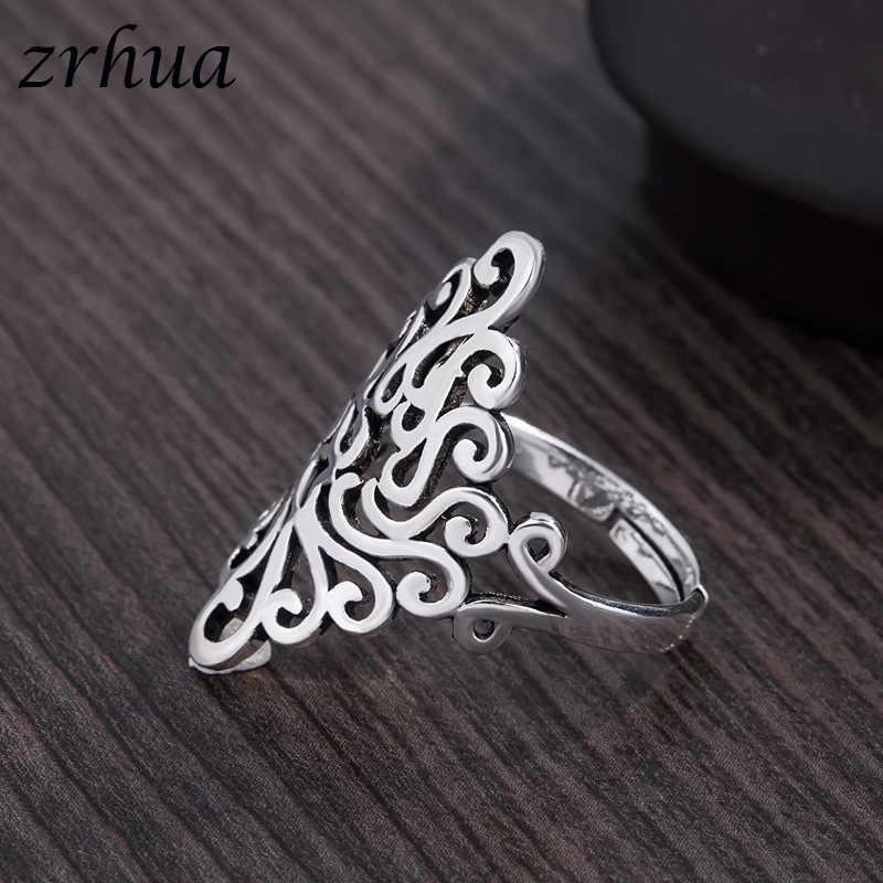 ZRHUA คุณภาพสูง 925 เงินสเตอร์ลิงแหวนผู้หญิงงานแต่งงานสาว Leaf นิ้วใหญ่ Anel ขายส่งเปิด Anillos