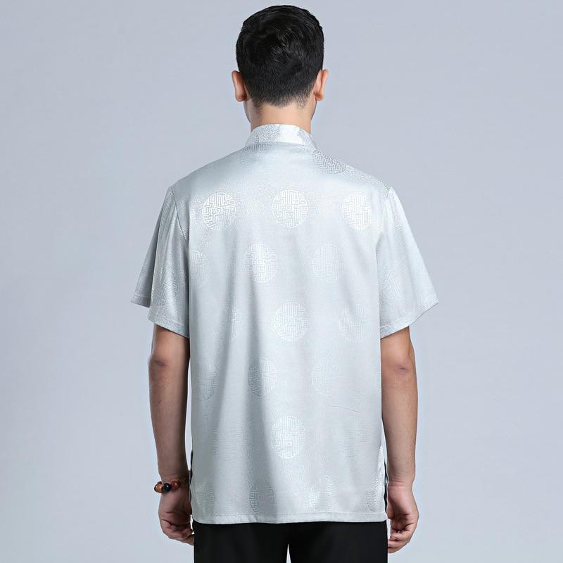 Купить с кэшбэком Chinese Tradtional Summer Tops Men Silk Blend Short-Sleeves Shirt Size M-3XL