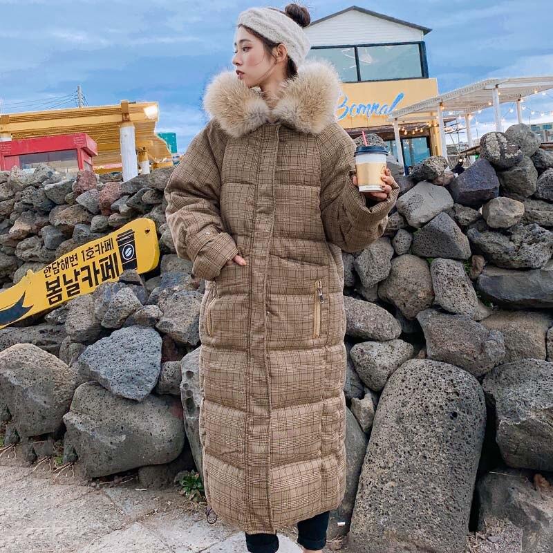 한국 스타일 2019 겨울 자켓 여성 모피 x 긴 다운 코트와 후드 따뜻한 패딩 파카 고품질-에서다운 코트부터 여성 의류 의  그룹 2