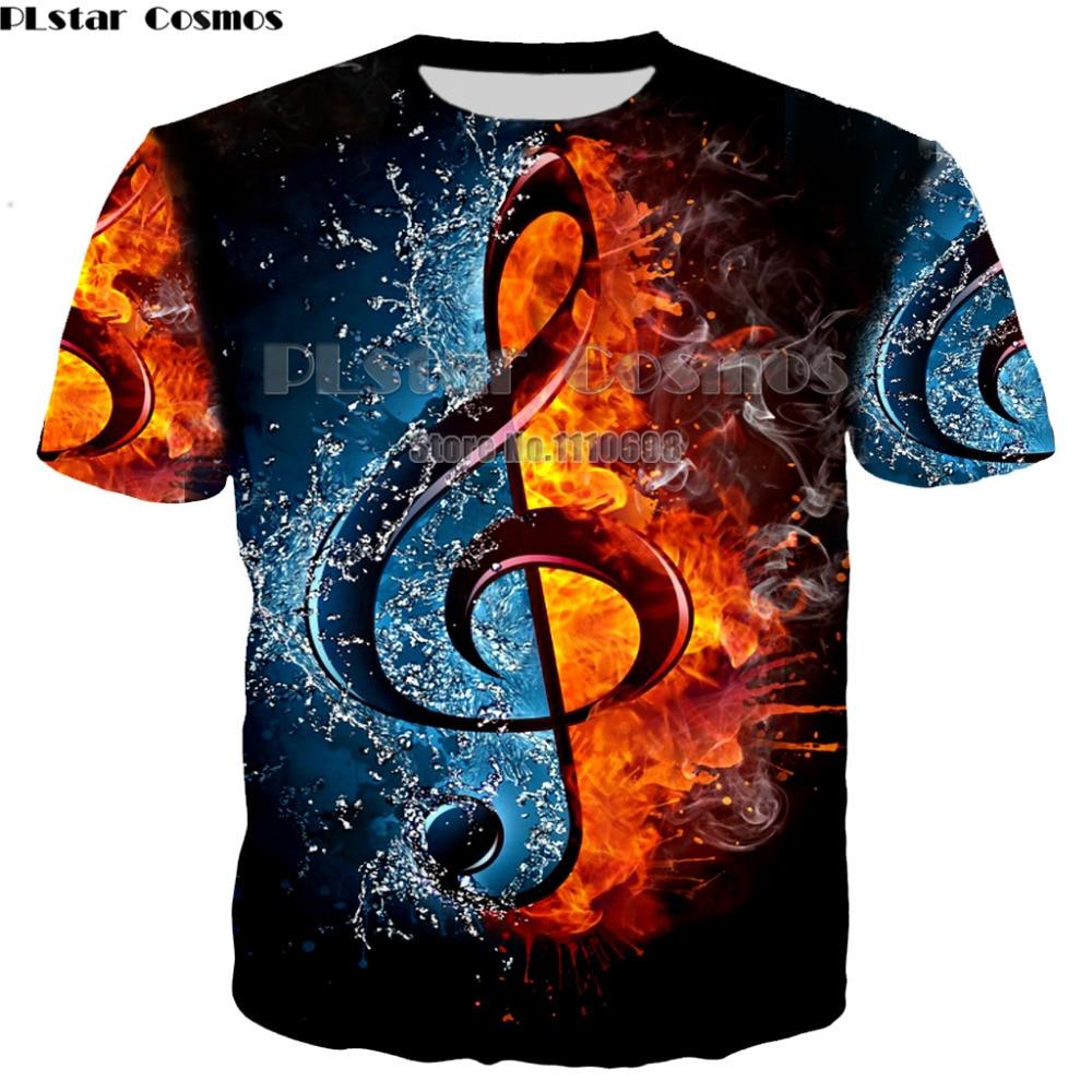 PLstar Cosmos Hot Fashion Rock Style T-Shirt DJ Disco Music and  Guitar Print 3D T Shirt Neutral Men /Womens Casual Clothing