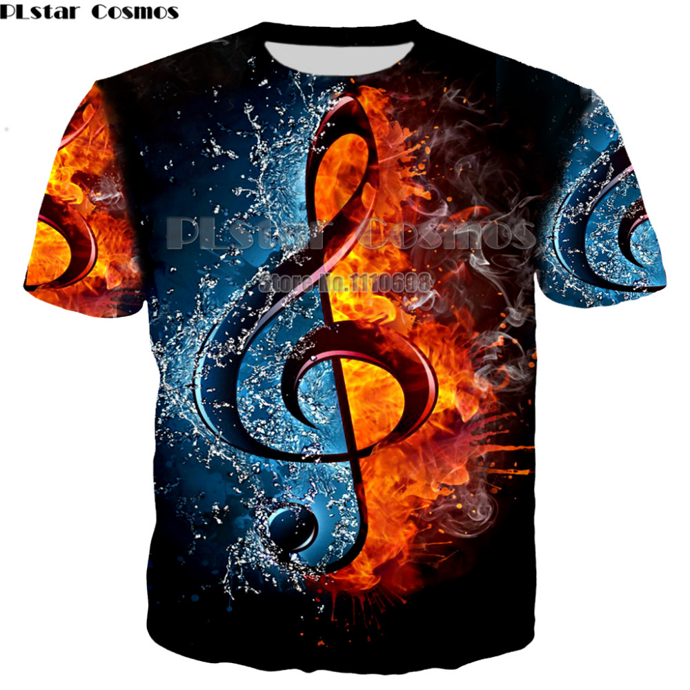 PLstar Cosmos Hot Fashion Rock Style   T  -  Shirt   DJ Disco Music and Guitar Print 3D   T     Shirt   Neutral Men /Womens Casual Clothing