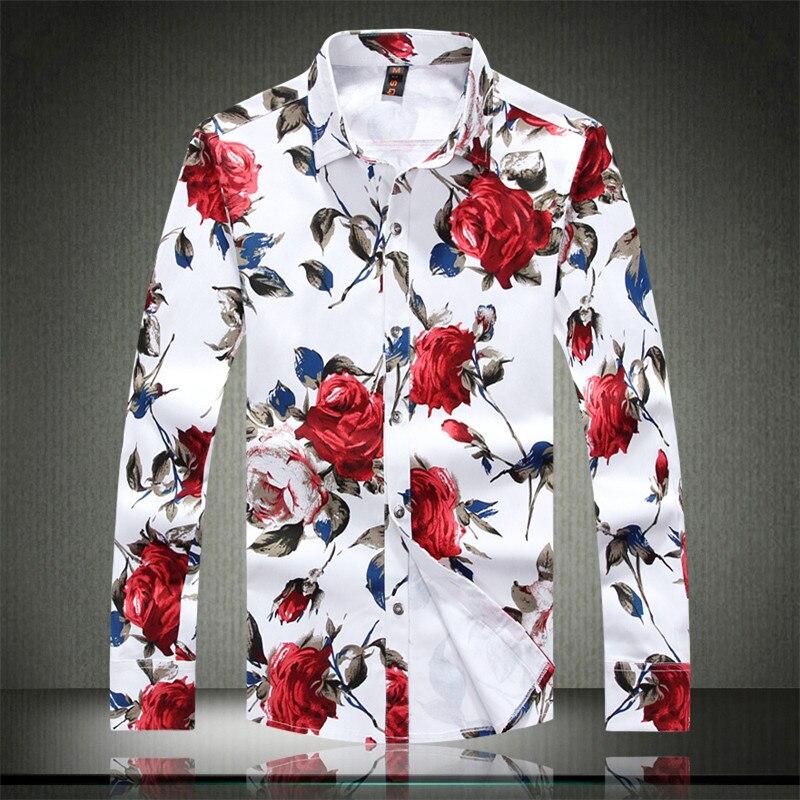 4443f083cf Outono & Primavera Flor de Manga Comprida Impressa & Floral Camisas  Ocasionais Dos Homens de Moda Slim Fit Camisas de Vestido Plus Size 5XL  Camisa masculina ...