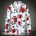 Outono & Primavera Flor de Manga Comprida Impressa & Floral Camisas Ocasionais Dos Homens de Moda Slim Fit Camisas de Vestido Plus Size 5XL Camisa masculina